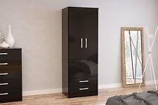 Birlea Lynx High Gloss All Black 2 door 2 drawer Gents bedroom wardrobe new