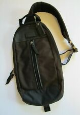 Coach Men's Brown and Blue Messenger Bag Nylon Leather Trim Sling Back Pack EUC