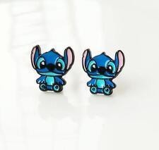 Disney lilo&stitch blue sit metal earring ear stud earrings studs anime fashion