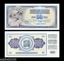 YUGOSLAVIA 50 DINARA 1968 p-83b nessuna sicurezza filettatura MINT UNCIRCULATED banconote