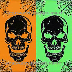 HALLOWEEN DOOR POSTER SCARY HORROR SKULL POSTER NEON ORANGE SPIDER DOOR COVER