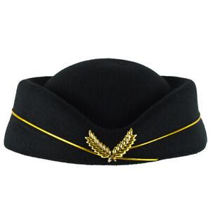 Airline Stewardess Flight Attendant Air Hostess Fashion Vintage Looking Hat Blk