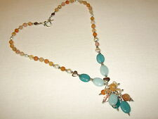 COLLANA IN AGATA PESCA, ACQUAMARINA, PERLE - NECKLACE WITH AGATE, PEARLS & BEADS