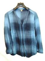 Eddie Bauer M Blue Plaid Shirt V Neck Hidden Button Long Sleeve Womens Blouse md