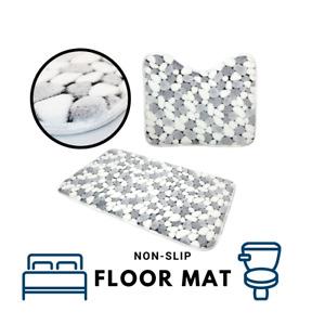 2 x Non Slip Soft Cotton Bath Pedestal Mat Toilet Washable Floor Rugs Set Carpet