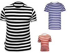 Men's Women's T Shirt Striped Top Black and White Dress Crew Neck Short Sleeves