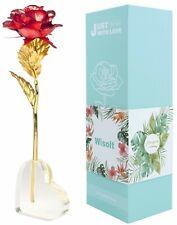 Roses Éternelles Rouge Plaqué Or 24K Fleurs Artisanales Support Cœur Décorations