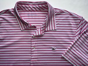 Vineyard Vines golf polo shirt Pink/White/Blue striped ~ mens L