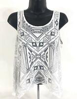 Material Girl Tank Shirt Womens S Small White Sheer Pattern Split Back Top
