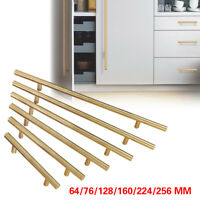 Gold Modern Kitchen Stainless Steel Cabinet Door Handles Drawer Pulls Knobs Lot