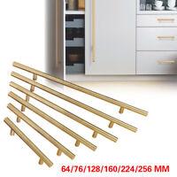 Gold Modern Kitchen Stainless Steel Cabinet Door Handles Drawer Pulls Knobs Lot