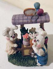 Adorable Easter Bunny Rabbit Resin Figurine Flower Cart Spring Decor