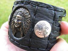 Brass Indian head nice for biker Cuff Bracelet leather silver Kokopelli buttons