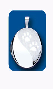 Silver Paw Print Locket Oval Pet Dog Sterling Silver All Chain Lengths