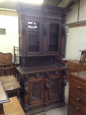 Carved Victorian Oak Library Bookcase Angel Dresser GreenMan LionsHead PussyOak1