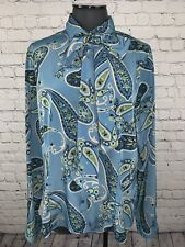 Women's 16T TALL LIZ BAKER Blue Paisley L/S Business Career Shirt Necktie EXC