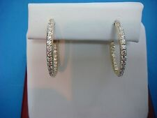 1 CARAT T.W. DIAMONDS IN AND OUT 14K YELLOW GOLD HOOP EARRINGS, 1 INCH DIAMETER