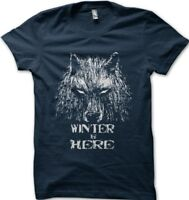 GOT Game Of Thrones inspired WINTER is Here NAVY printed t-shirt FN9625