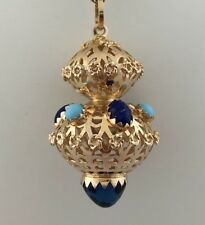 Vintage 18kt Yellow Gold Lapis Turquoise Charm Fob Bauble