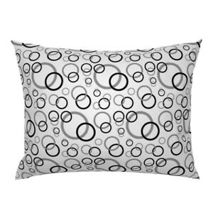 Black And Circles Bubble Geometric Abstract Circle Pillow Sham by Roostery