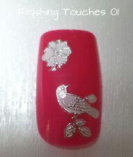 Nail Art Sticker- Flower Decal #411 TJ038 Transfer Wedding Metallic Silver Bird