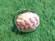 Pink Baseball Ring Made From a Real Baseball With Pink Stitches