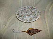 Andrea Sadek floral cake stand w/gold electroplate serv