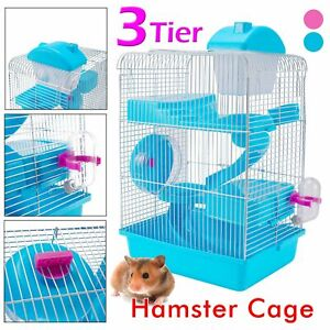 3-Tier Hamster Cage Small Rodent House Gerbil Mice Mouse Cages Animal Play HomeA