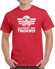 173 Support the Troops mens T-shirt storm trooper star geek nerd wars jedi new