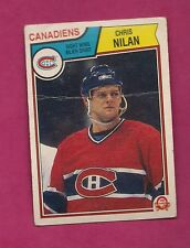 1983-84 OPC # 194 CANADIENS CHRIS NILAN   ROOKIE CREASED CARD (INV# 7981)