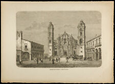 1860 - Cathedral of The Havana - Cuba - Engraving On Wood
