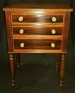 3 drawer work stand, night table, Sheraton, c1820, rswd, cedrela, 29t