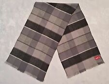 VINTAGE PINGVIN PLAID & CHECK GRAY WOOL BLEND LONG MEN'S FRINGE SCARF
