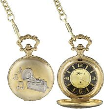 Collectible Thomas Edison First phonograph Pocket Watch With Chain Fob Gift Box