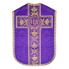 ---Pianeta damasco seta viola Piviale Stola Dalmatica Vangelo Madonna Crocifisso