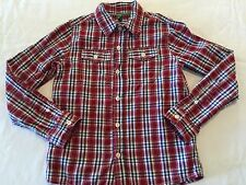 UNTED COLORS OF BENETTON RED STRIPED/PLAID L/S SHIRT YOUTH SIZE 7-8 (M)