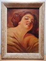 Tableau ancien peinture peintre émigré russe art vieille Russie portrait femme
