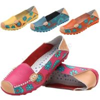 Women's Casual Boat Peas Slip On Loafers Ballet Flats Flowers Pattern Shoes