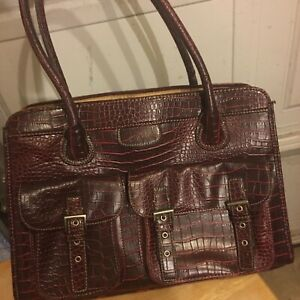 Large satchel Bag Faux Leather Croc travel/day bag Burgundy