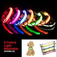 Adjustable LED Dog Pet Light Up Collar Bright Flashing Necklace Strap Safety  +