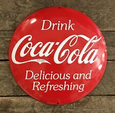 """Drink COCA-COLA """"Delicious & Refreshing"""" Rounded Button 14"""" Tin Metal Sign"""