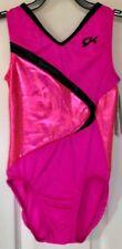 Gk Elite Child Large Tank Leotard Pink Black Foil Sparkle Gymnastic Dance Cl
