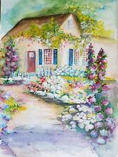 "Painter Suzanne Obrand, Holocaust Survivor, Watercolor ""Cottage Getaway"""