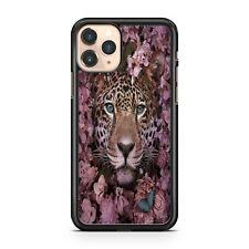 Floral Pink Leaf Covered Majestic Fierce Spotted Leopard Animal Phone Case Cover