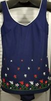 Vintage Swimsuit Bathing Suit Womens Size 34 Dark Blue Floral 2 Piece USA Made