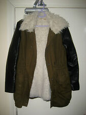 Vera & Lucy L 8 10 12 Fluffy furry Lined Khaki Coat/ Jacket w Leather sleeves