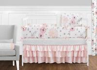 Jojo Shabby Chic Blush Pink Gray Floral Watercolor Girl Baby Bedding Crib Set