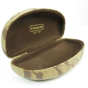 Coach Eyeglasses Case Hard Clam Shell Logo Monogram Brown Fabric