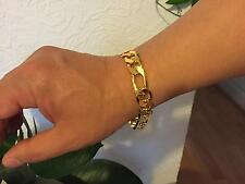 25cm L 12mm W 18k Gold Plated Chain Stoneless Bracelet Anklet Xmas Gift