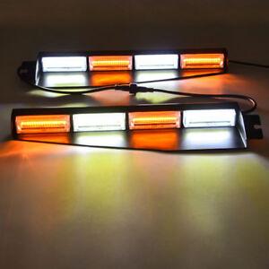 "34"" 32W COB LED Warn Emergency Hazard Visor Dash Strobe Light Bar Amber White"